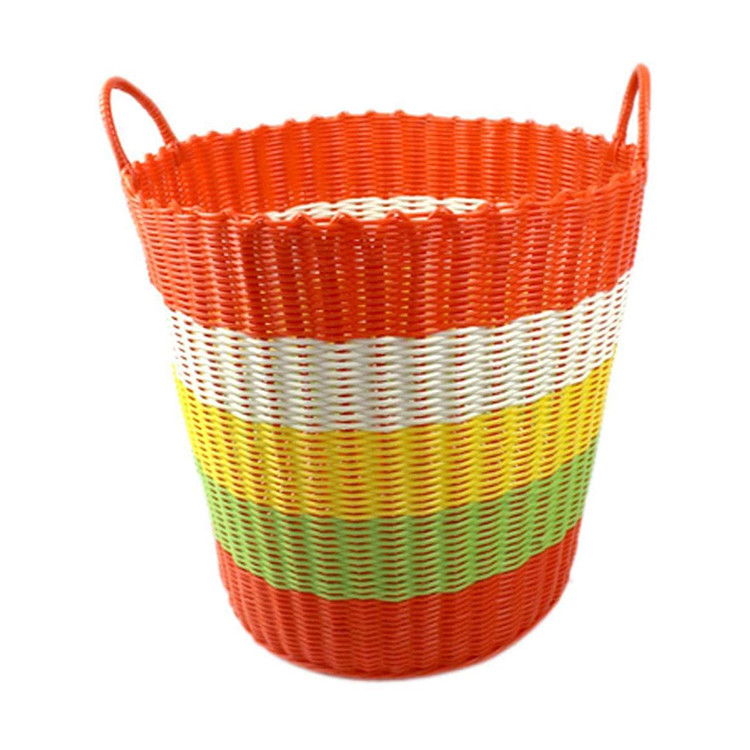 qingdao widely used pp rattan woven basket plastic rope clothes storage baskets with durable handles