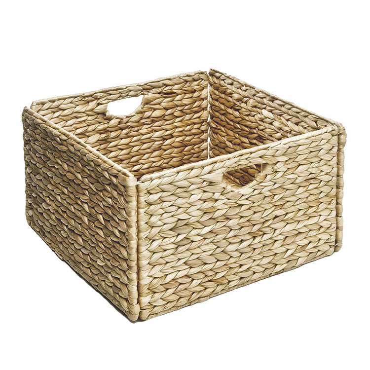 wholesale concise and delicate style collapsible weaving water hyacinth storage bedroom basket box 13.25