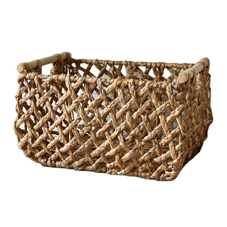 low moq rustic style sea grass storage basket water hyacinth storage basket manufacturer 49x37x29cm