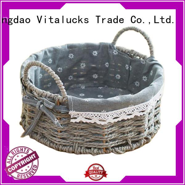 Vitalucks wholesale round woven basket favorable price manufacturing